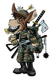 Donkey soldier with weapon Stock Photos