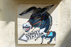 Donkey station of santorini Royalty Free Stock Images