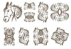 Donkey symbols in tribal style Stock Photos