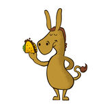 Donkey with taco cartoon vector Royalty Free Stock Photo