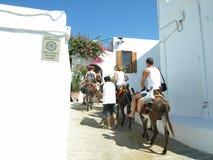 Donkey Taxi - Lindos, Rhodes, Greece. Royalty Free Stock Photos