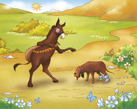 Donkey and tired dog  - fairy tale. A donkey and a tired dog. Digital illustration of the Grimms fairy tale: Bremen town musicians Royalty Free Stock Images