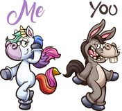 Donkey and unicorn posing. Unicorn and donkey posing. Vector clip art illustration with simple gradients. Each on a separate layer stock illustration