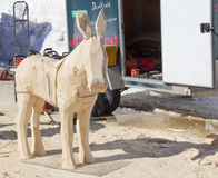 Donkey wood carving in process Royalty Free Stock Photo