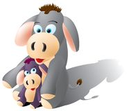 Donkeys. Cute donkeys, mama donkey and baby donkey, layered and grouped illustration for easy editing Stock Photos