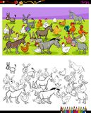 Donkeys and chickens characters color book. Cartoon Illustration of Donkeys and Chickens Farm Animal Characters Group Coloring Book Activity vector illustration
