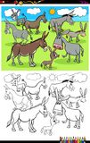 Donkeys farm animal characters group color book stock images