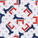 Donkeys seamless pattern on american stars. Donkeys seamless pattern on american stars background. USA presidential elections patriotic wallpaper. Grid pattern Royalty Free Stock Image