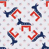 Donkeys seamless pattern on american stars. Donkeys seamless pattern on american stars background. USA presidential elections patriotic wallpaper. Scalable Royalty Free Stock Images
