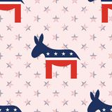 Donkeys seamless pattern on national stars. Donkeys seamless pattern on national stars background. USA presidential elections patriotic wallpaper. Surface Stock Photo