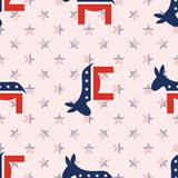 Donkeys seamless pattern on national stars. Donkeys seamless pattern on national stars background. USA presidential elections patriotic wallpaper. Wallpaper Stock Photography