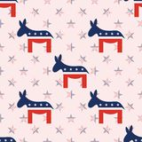 Donkeys seamless pattern on national stars. Donkeys seamless pattern on national stars background. USA presidential elections patriotic wallpaper. Wrapping Royalty Free Stock Image