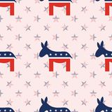 Donkeys seamless pattern on national stars. Donkeys seamless pattern on national stars background. USA presidential elections patriotic wallpaper. Tillable Stock Photography