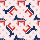 Donkeys seamless pattern on national stars. Donkeys seamless pattern on national stars background. USA presidential elections patriotic wallpaper. Tiling Stock Photography