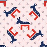 Donkeys seamless pattern on national stars. Donkeys seamless pattern on national stars background. USA presidential elections patriotic wallpaper. Scalable Royalty Free Stock Photo