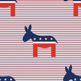 Donkeys seamless pattern on red and blue diagonal. Donkeys seamless pattern on red and blue diagonal stripes background. USA presidential elections patriotic Royalty Free Stock Photos