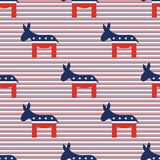 Donkeys seamless pattern on red and blue diagonal. Donkeys seamless pattern on red and blue diagonal stripes background. USA presidential elections patriotic Stock Photos