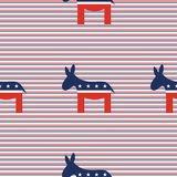Donkeys seamless pattern on red and blue diagonal. Donkeys seamless pattern on red and blue diagonal stripes background. USA presidential elections patriotic Royalty Free Stock Photography