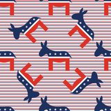 Donkeys seamless pattern on red and blue diagonal. Donkeys seamless pattern on red and blue diagonal stripes background. USA presidential elections patriotic Stock Image