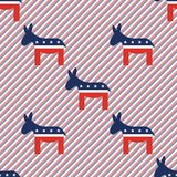 Donkeys seamless pattern on red and blue stripes. Donkeys seamless pattern on red and blue stripes background. USA presidential elections patriotic wallpaper Royalty Free Stock Photos