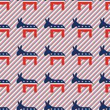Donkeys seamless pattern on red and blue stripes. Donkeys seamless pattern on red and blue stripes background. USA presidential elections patriotic wallpaper Stock Image