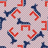 Donkeys seamless pattern on red and blue stripes. Donkeys seamless pattern on red and blue stripes background. USA presidential elections patriotic wallpaper Stock Images