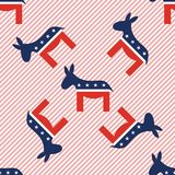 Donkeys seamless pattern on red stripes. Donkeys seamless pattern on red stripes background. USA presidential elections patriotic wallpaper. Scalable pattern Stock Photography