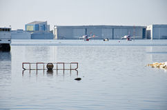 Donmuang Flughafen beeinflußt durch Flut lizenzfreies stockfoto