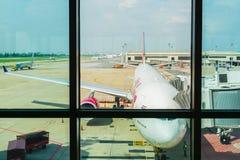 Donmuang international airport, Bangkok, Thailand - MAY 11 2018: An airclaft is waiting for passenger at ramp, Donmang airport i. S the first international stock photos