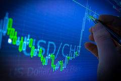 Données analysant sur le marché étranger de finances de forex : les diagrammes et le q Image stock
