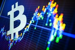 Données analysant sur le marché boursier d'échange : les chars de bougie sur le DIS photographie stock