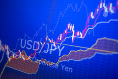 Données analysant sur le marché de forex : les diagrammes et les citations sur l'affichage Images stock