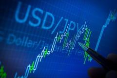 Données analysant sur le marché de forex : les diagrammes et les citations sur l'affichage Image stock