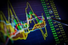 Données analysant sur le marché de forex : les diagrammes et les citations sur l'affichage Photos stock