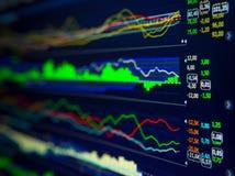 Données analysant sur le marché de forex : les diagrammes et les citations sur l'affichage Photos libres de droits