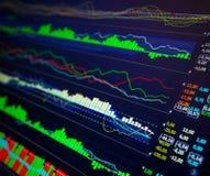 Données analysant sur le marché de forex : les diagrammes et les citations sur l'affichage Image libre de droits