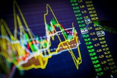 Données analysant sur le marché de forex : les diagrammes et les citations sur l'affichage Photo libre de droits