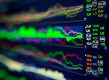 Données analysant sur le marché de forex : les diagrammes et les citations sur l'affichage Photographie stock libre de droits