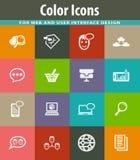 Données analytiques et icônes sociales de réseau réglées illustration libre de droits