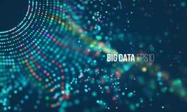 Données assortissant le processus Infographic futuriste de grandes données Grille colorée de particules avec le bokeh illustration libre de droits