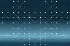 Données binaires de Digital avec les points blancs et lignes réseau sur le fond bleu et blanc de gradient Illustration de vecteur illustration libre de droits