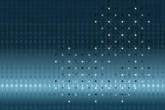 Données binaires de Digital avec les points blancs et lignes réseau sur le fond bleu et blanc de gradient Illustration de vecteur Photo stock