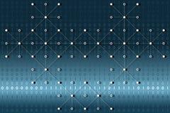 Données binaires de Digital avec les points blancs et lignes réseau sur le fond bleu et blanc de gradient Illustration de vecteur Photographie stock