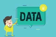 Données des textes d'écriture de Word Concept d'affaires pour l'information faits et statistiques recueillis comme référence illustration stock