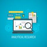 Données et icône analytique de recherches illustration stock