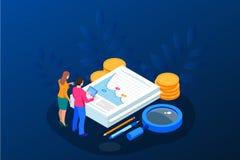 Données et investissement isométriques d'analyse Pile de documents avec un timbre officiel et de crayons dans un verre créateur illustration libre de droits