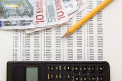 Données financières pour des calculs Image libre de droits