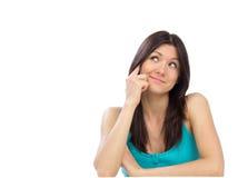 Donna abbastanza allegra che comunica sul telefono mobile Immagini Stock