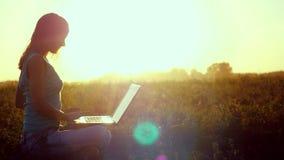 Donna abbastanza caucasica dei giovani che scrive su un computer portatile all'aperto al bello tramonto che si siede sull'erba co video d archivio