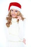 Donna abbastanza felice che celebra il Natale Immagine Stock Libera da Diritti